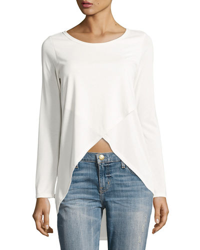 Cross-Front Long-Sleeve Top