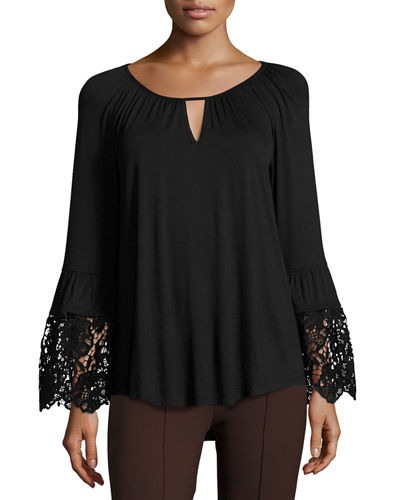 Crochet-Lace Trim Jersey Top