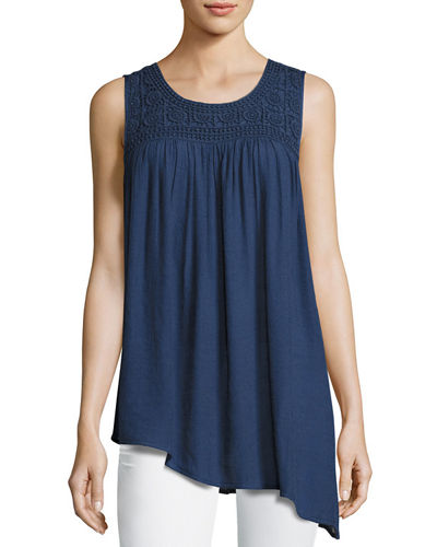 Crochet-Yoke Sleeveless Tank