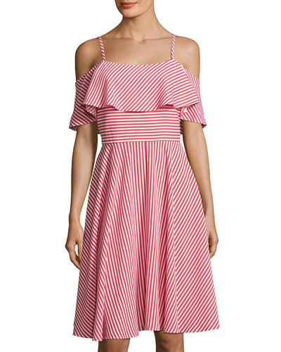 Ruffled-Popover Striped Dress
