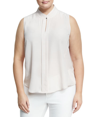 Noteworthy Split Neck Crepe Top Plus Size