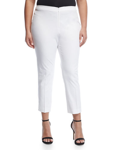 No-Waist Invisible-Fly AnkleTrousers, Plus Size