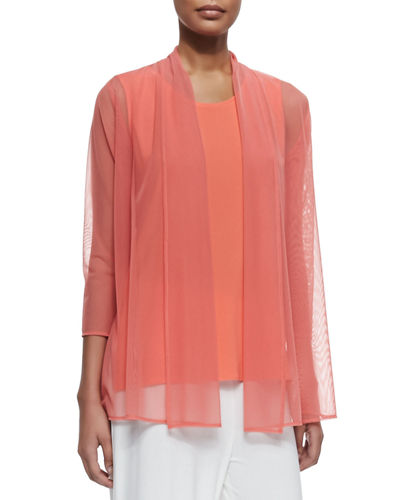 3/4 Sleeve Illusion Sheer Cardigan