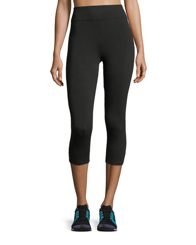 Cropped Lattice-Detail Performance Leggings
