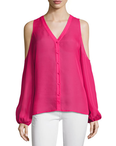 Solid Chiffon Cold-Shoulder Top