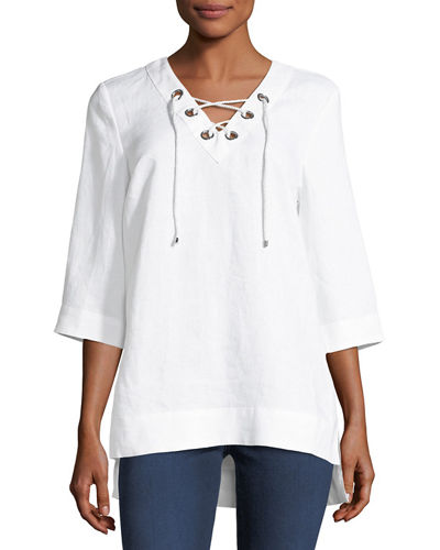 Half-Sleeve Lace-Up Linen Top