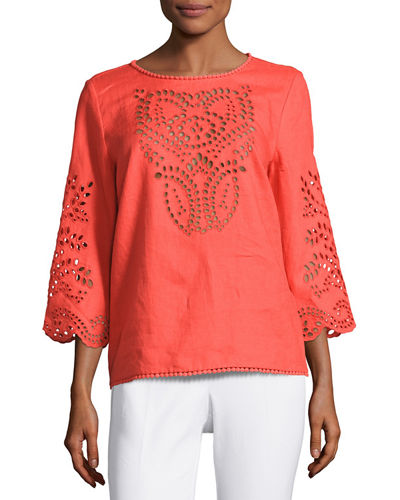 3/4-Sleeve Embroidered Top