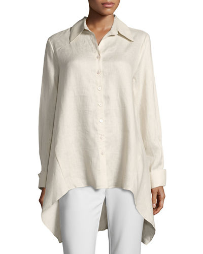 Drape-Back Linen Blouse