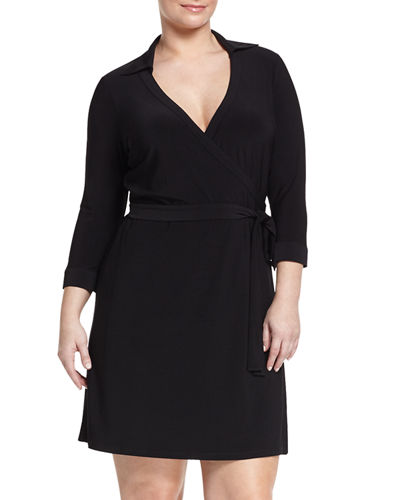 Milo Solid-Color Wrap Dress, Plus Size