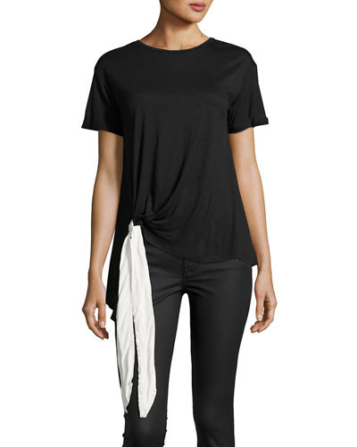Bow-Detail Short-Sleeve Jersey Tee