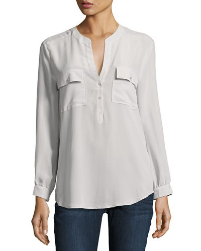 Pauline Long-Sleeve Silk Blouse