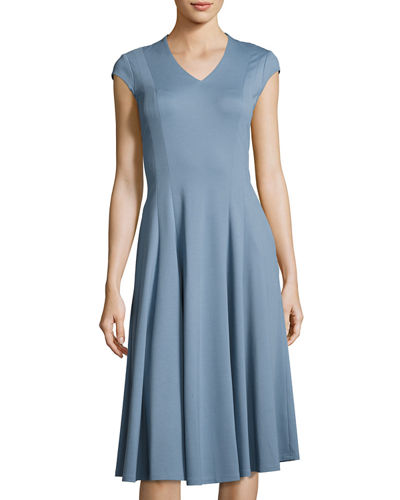 Seamed V-Neck Fit-and-Flare Dress