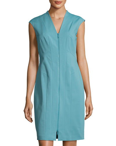 Christy Zip-Front Sheath Dress