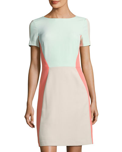 Colorblocked Short-Sleeve Crepe Dress