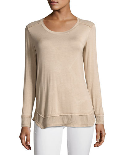 Long Sleeve Thermal Shoulder Top