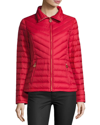Packable Chevron-Quilted Jacket