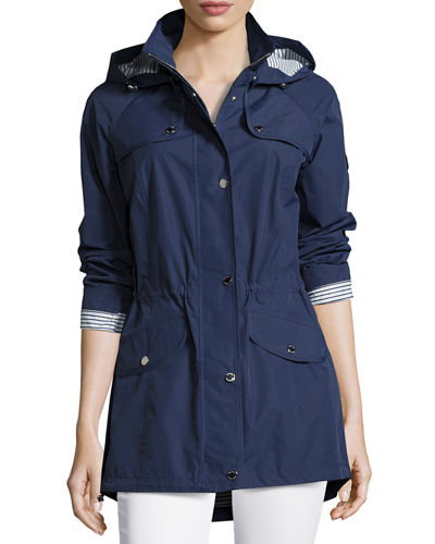 Cinched-Waist Utility Jacket with Hood