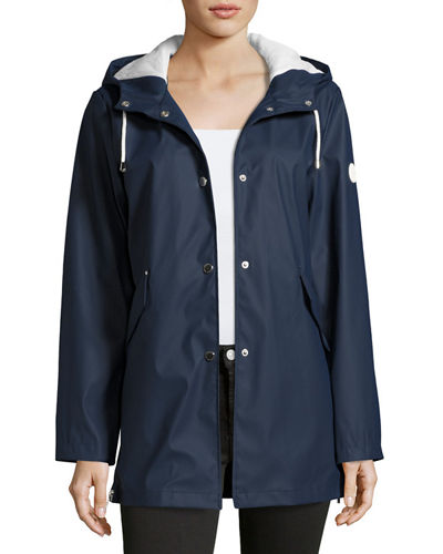 Snap-Front Smooth Hooded Jacket