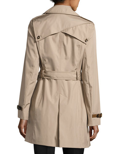 Classic Double-Breasted Trench Coat w/ Belted Waist