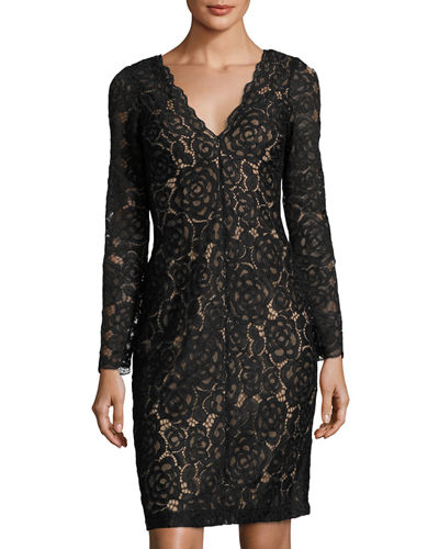 Long-Sleeve Lace Cocktail Dress