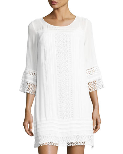 3/4-Sleeves Crochet-Trim Dress