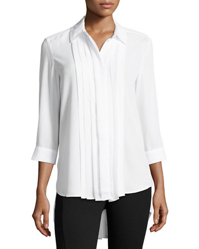 Pleated-Front High-Low Shirt