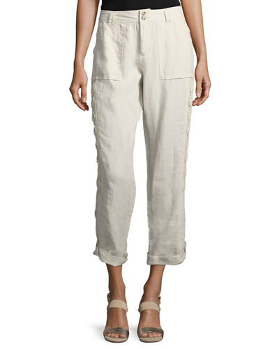 Two-Button Lace-Inset Linen Cargo Pants