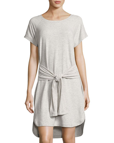 Raglan-Sleeve Wrap-Tie Dress