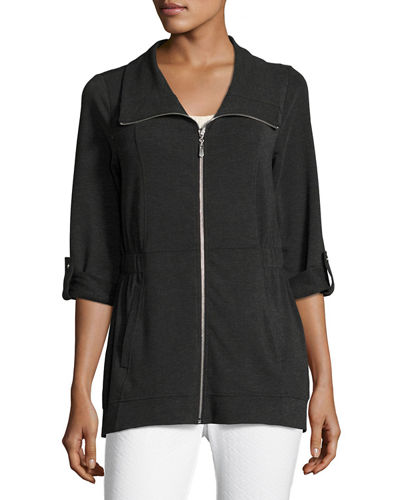 Jersey Short-Collar Roll-Sleeve Jacket