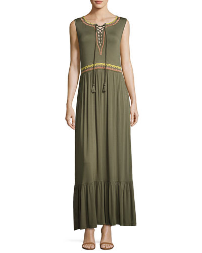 Lace-Up Embroidered Maxi Dress