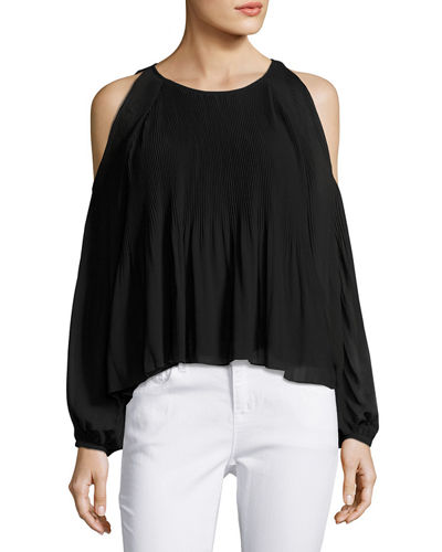 Pleated Chiffon Cold Shoulder Blouse