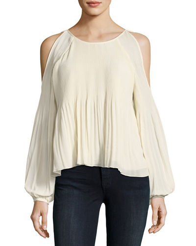 Pleated Chiffon Cold-Shoulder Blouse