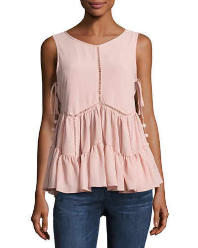 Sleeveless Ruffled-Hem Top