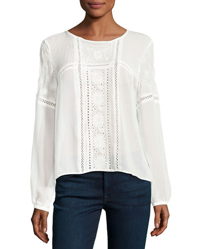 Embroidered-Eyelet Long-Sleeve Blouse