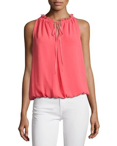 Tie-Neck Sleeveless Blouse