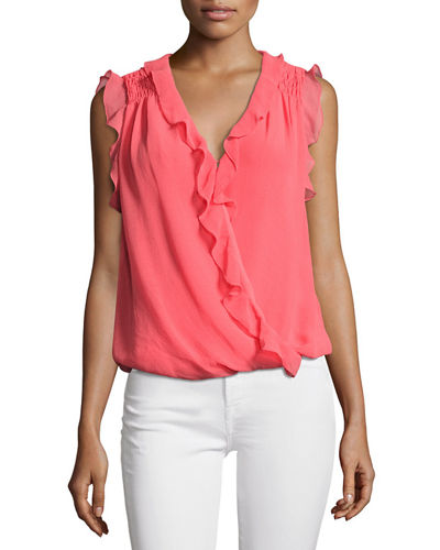 Shirred-Shoulders Sleeveless Blouse