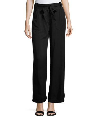 Twill Wide-Leg High-Waist Pants
