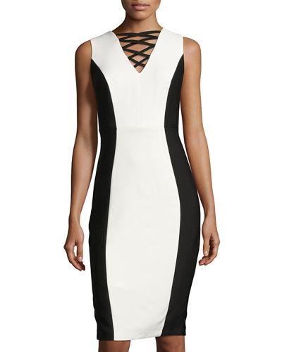 Cross Neck Colorblock Sheath Dress