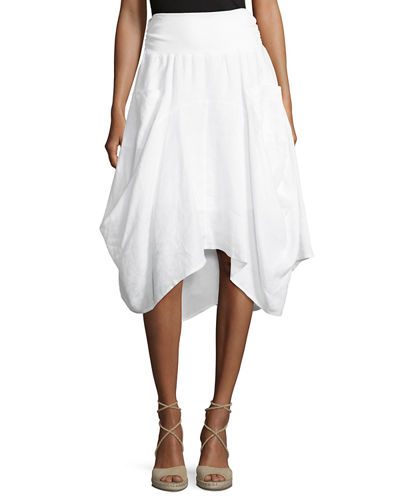 Ribbed-Waist Pull-On Linen Skirt