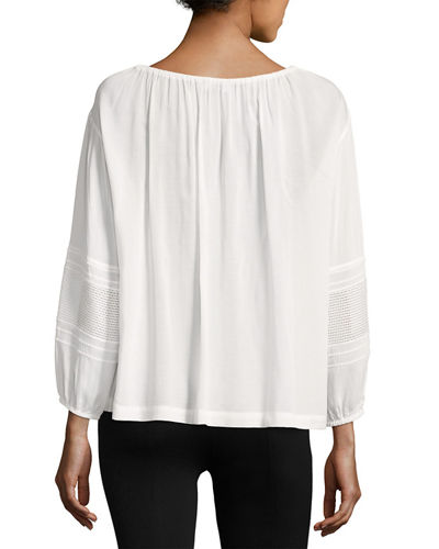 Wide-Sleeve Lace-Inset Blouse