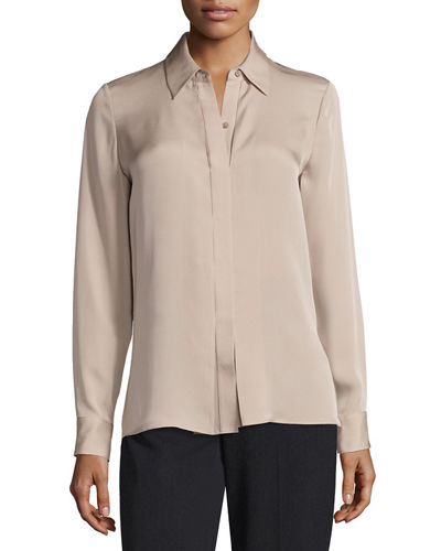 Collard Button Front Silk Blouse