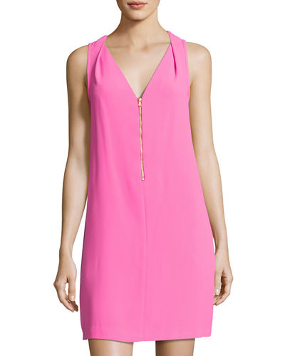 Banning Zip-Front Crepe Dress