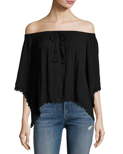 Drawstring Neck Lace Trim Top