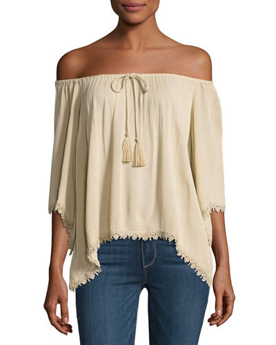 Drawstring-Neck Lace-Trim Top