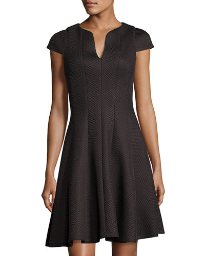 Split Neck Cap Sleeve Fit and Flare Dress