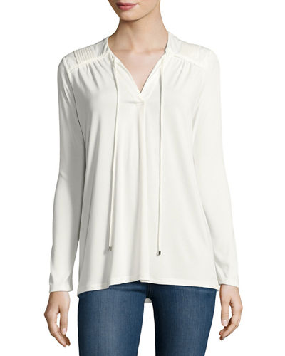 Pleated-Shoulder Long-Sleeve Top