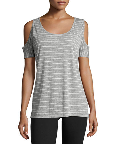 Striped Cold-Shoulder Jersey Tee