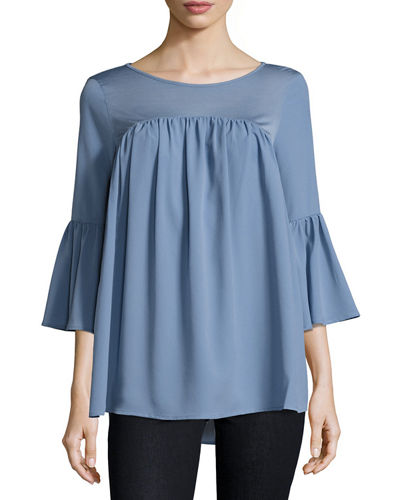 Polly Plains Fluted-Sleeve Top