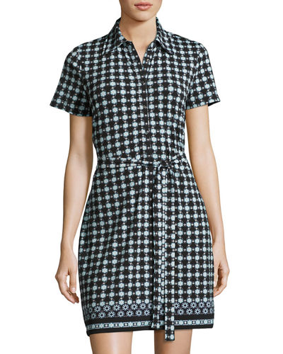 Circle Print Jersey Shirtdress