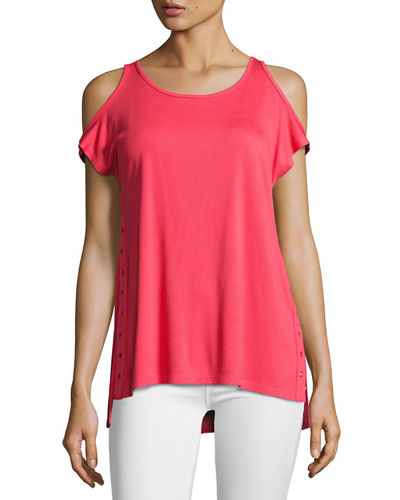 Grommet-Trim Cold-Shoulder Top